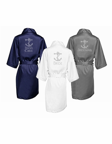 Nautical Themed Rhinestone Embelleshied Satin Robes