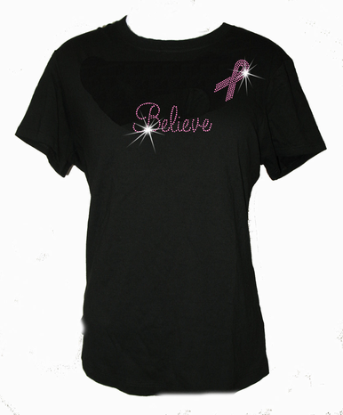 Crystal Believe Awareness Ribbon T-Shirt
