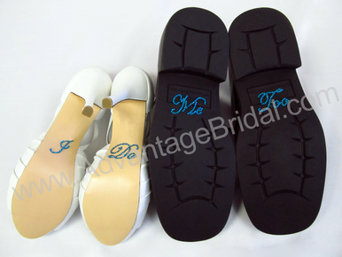 I Do Shoe Stickers Set for Bride and Groom in Turquoise Script