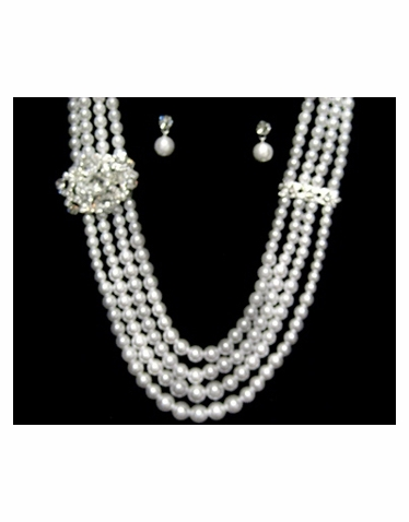 Pearl and Rhinestone Necklace and Earrings Jewelry Set-522