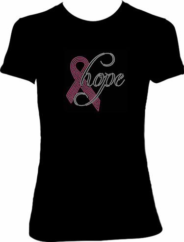 "Pink Ribbon ""Hope"" Rhinestone T-shirt"
