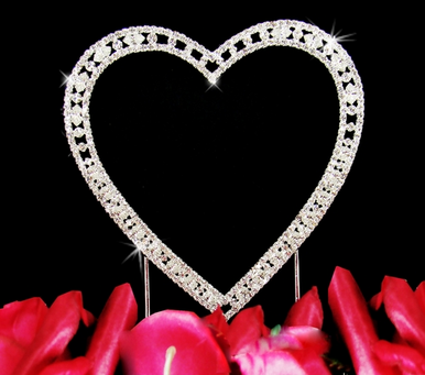 Vintage Elegance Single Crystal Heart Wedding Cake Topper - Two Sizes