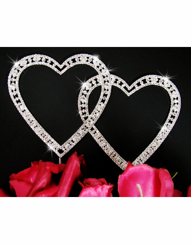 Vintage Elegance Crystal Double Heart Wedding Anniversary Cake Topper