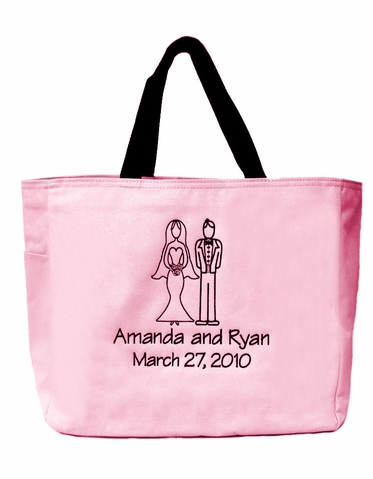 Personalized Bride and Groom Embroidered Tote Bag