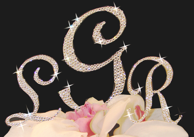 Fully Encrusted Crystal Monogram Cake Topper
