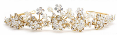 Crystal and Freshwater Pearl Tiara in Ivory/Gold or White/Silver