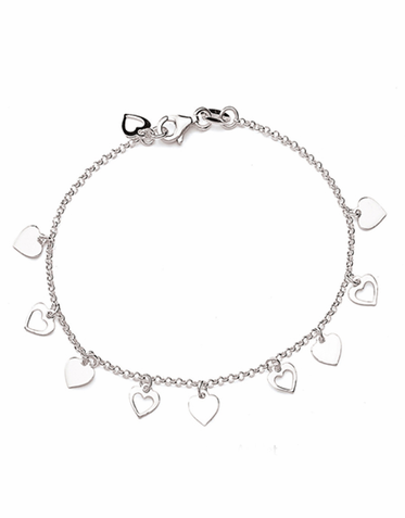 SALE! Silver Anklet with Dangling Heart Charms