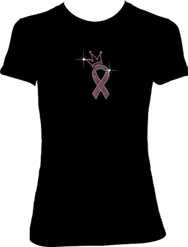 "Pink Ribbon ""Princess"" Rhinestone Tee"