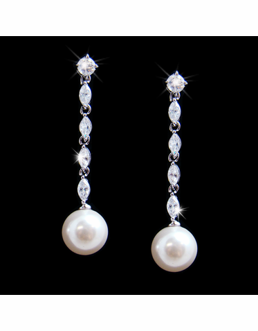 Cubic Zirconia and Pearl Dangle Earrings