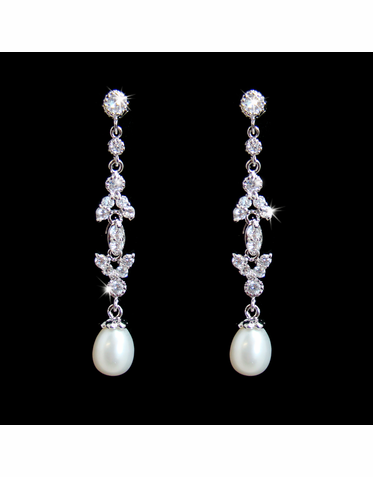Cubic Zirconia and Drop Pearl Earrings