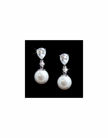 Pear Cut CZ and Pearl Drop Earring