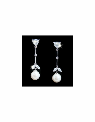 CZ and Pearl Earrings with Leaf Accent