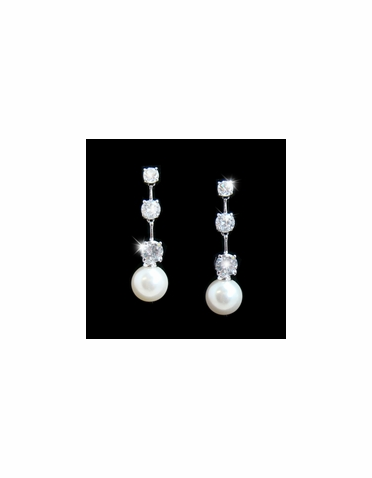 Three Stone CZ with Pearl Dangle Earrings