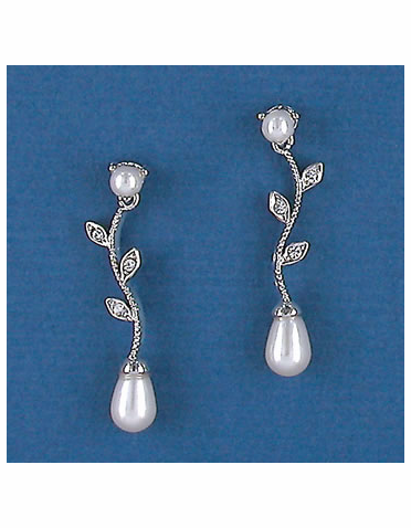 Silver or Gold Vine Earrings with Crystals or Pearls