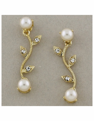 Gold Vine Pattern Earrings with Clear CZ and Ivory Pearl
