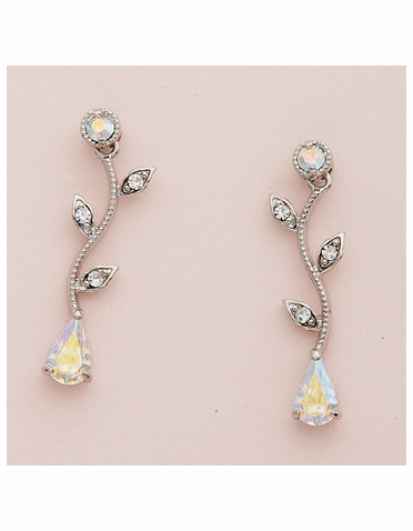 Silver Vine Pattern Earrings with Teardrop AB Crystal