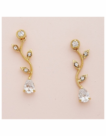 Gold Vine Pattern Earrings with Clear Teardrop CZ Crystal
