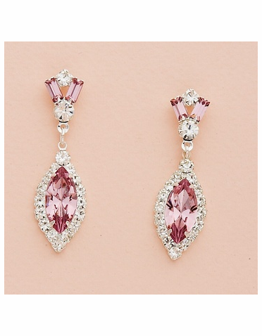 Austrian Crystal Earrings with Custom Crystal Navettes & Baguettes
