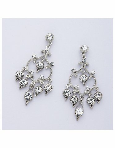 Rhodium-plated Rhinestone Earrings