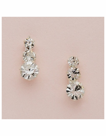 Silver Graduated Round Crystal Earrings