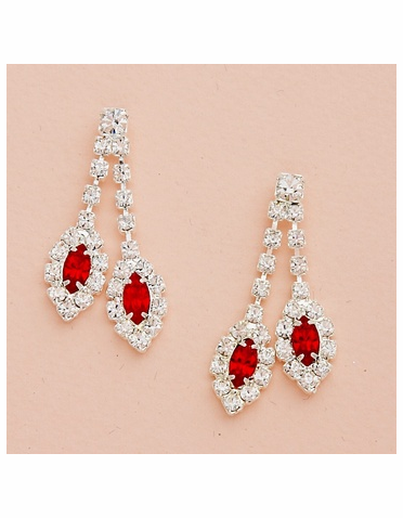 Double Drop Marquise Crystal Silver Earrings