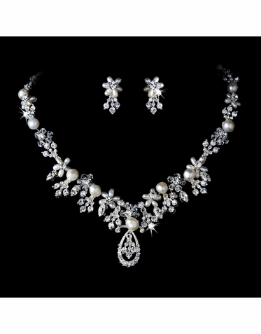 Pearl and Crystal Bridal Jewelry Set in Silver or Gold