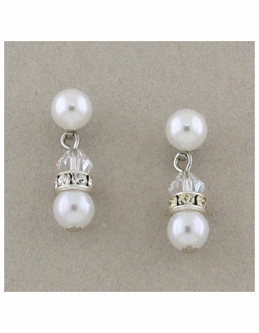 White Pearl and Crystal Rondelle Silver Earrings