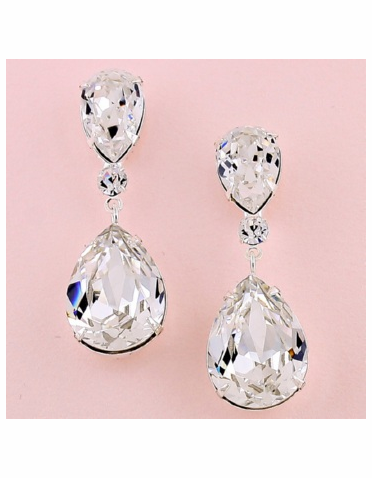 Large Teardrop Clear Crystal Silver Earrings
