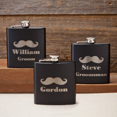 Personalized Groom and Groomsman Flask with Mustache Motif