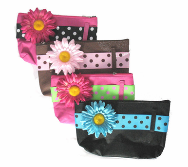 Canvas Cosmetic Bag with Interchangeable Ribbon and Flower Pin