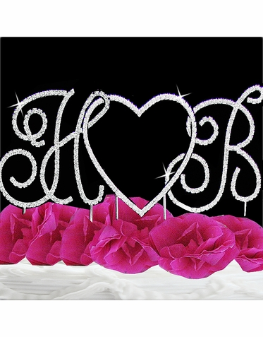 Two Initials and a Heart Crystal Cake Topper