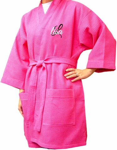 Personalized Waffle Weave Spa Robe - Thigh Length Spa Robe