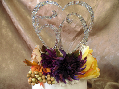 Fully Encrusted Crystal Heart and Numbers Cake Topper
