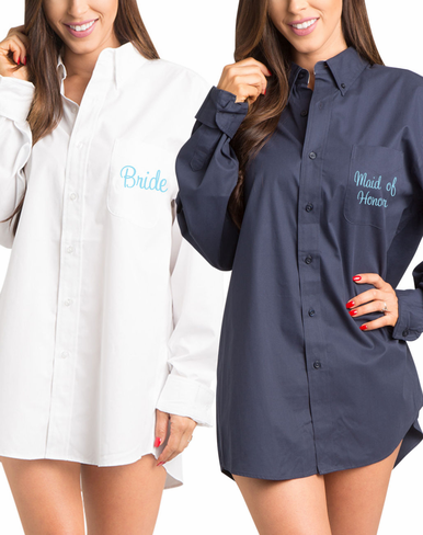 Embroidered Oversized Shirts for Brides and Bridesmaids