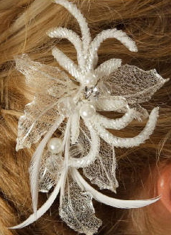 Unique Hair Clip with Silver Mesh Leaves 8039
