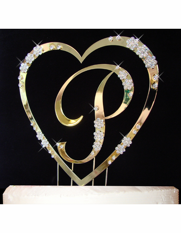 Dazzling Crystal Embellished Gold Heart Cake Topper with Monogram