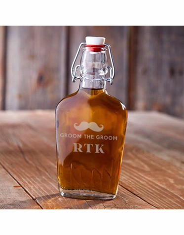 Engraved Glass Swing-top Flask