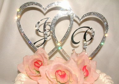 Silver or Gold Double Heart Initials Wedding Cake Topper