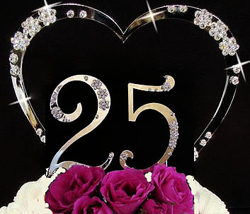 Birthday Cake Topper or Anniversary Cake Topper with Crystals