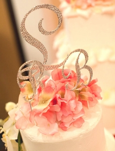 Fully Covered Crystal Monogram Cake Topper