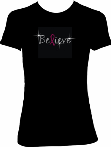 """Believe"" Rhinestone Pink Ribbon Shirt"
