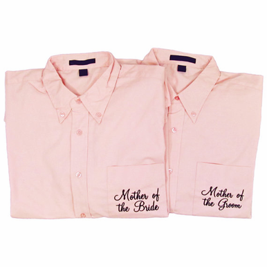Pink Button Down Mother of the Bride and Groom Shirts