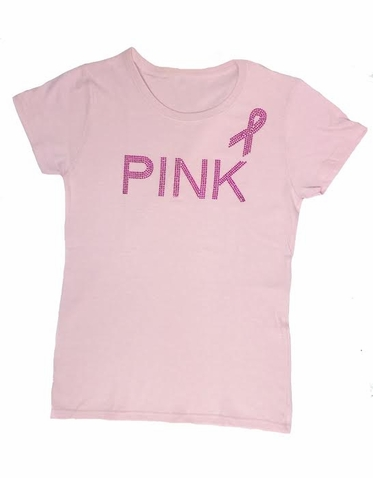 Pink Ribbon Rhinestone Tank Top or T-Shirt