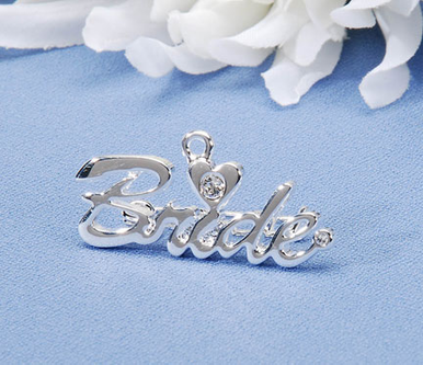 Silver Bride Pin or Bride Charm