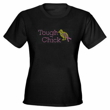 Tough Chick Rhinestone Tank or Tee with Breast Cancer Ribbon Detail