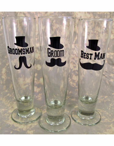 Custom Mustache Pilsner Glass - Personalized Pilsner