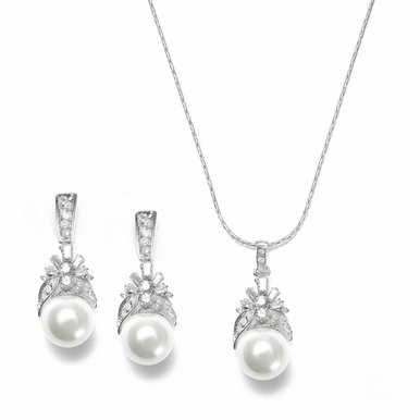 Elegant Pearl and Rhinestone Pendant Necklace Set