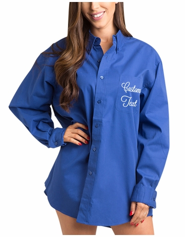 Royal Blue Button Down Getting Ready Shirt