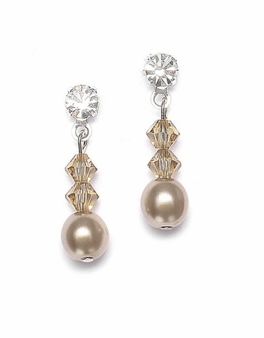 Hand Crafted Pearl And Crystal Drop Earrings In 26 Custom Colors