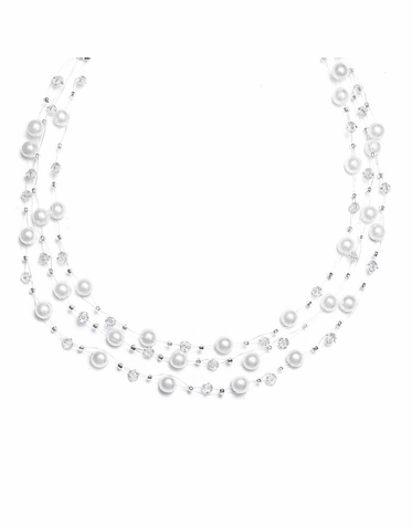 Custom Made 3-Strand Illusion Pearl Necklace 26 Colors